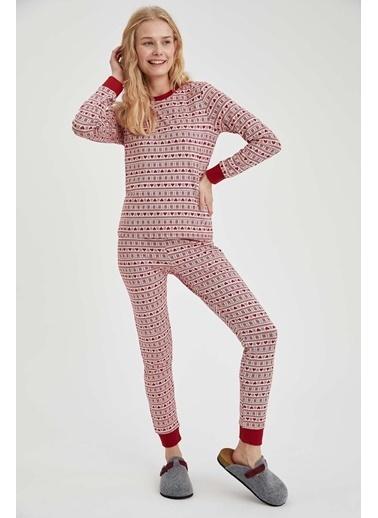 DeFacto Kalp Desenli Pijama Altı Kırmızı